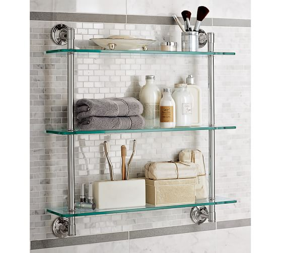 Mercer Triple Glass Shelf | Pottery Barn