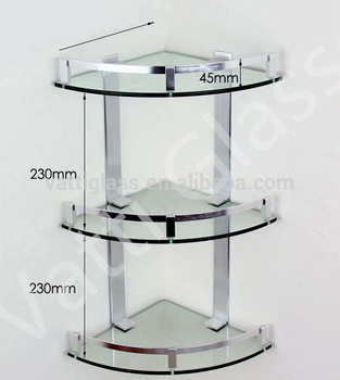 Bathroom Glass Corner Shelf/kitchen Glass Shelf / Three Layers Glass