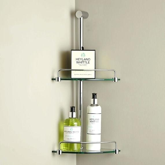 Bathroom Glass Shelves Minimalist Corner Double Glass Shelf Image 1
