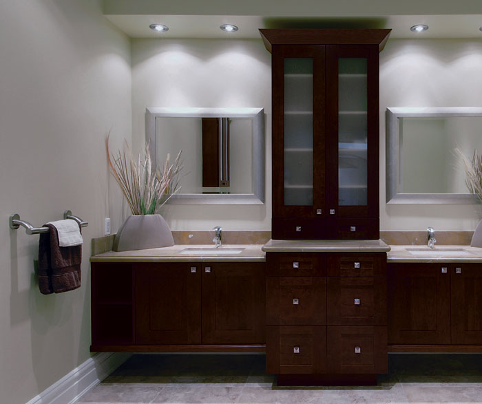 Contemporary Bathroom with Storage Cabinets - Kitchen Craft