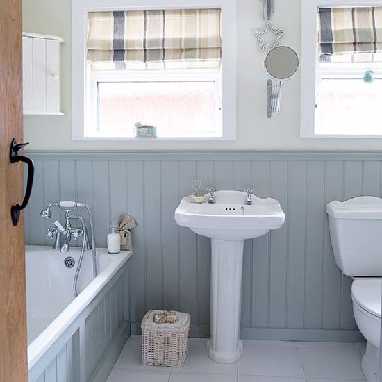 Grey and white country bathroom with wall panels | bathroom
