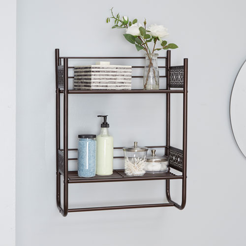 North Oaks Magnolia Bathroom Collection Wall Shelf, Oil Rubbed