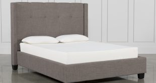 Damon Stone Queen Upholstered Platform Bed | Living Spaces