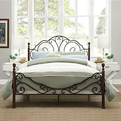 Amazon.com: LeAnn Graceful Scroll Bronze Iron Bed Frame (Full