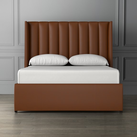 Channeled Leather Bed & Headboard | Williams Sonoma