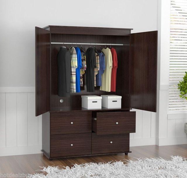 Buy Wardrobe Closet Armoire With 4 Drawer 2 Door Bedroom Furniture