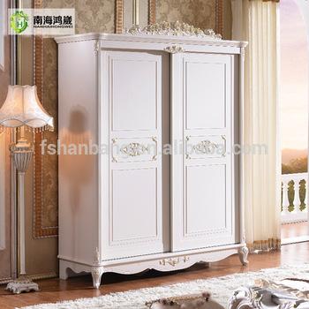 White Antique French Sliding Door Bedroom Wardrobe Armoire