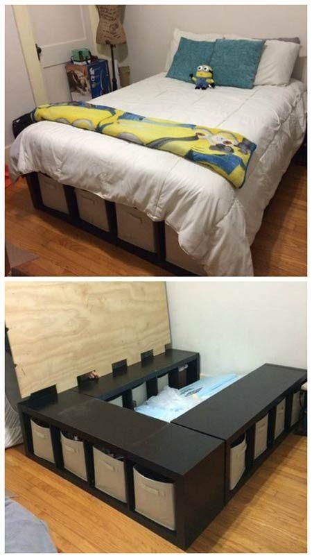 How To Make A Shelf Storage Bed | DIY Home Decor Ideas | Pinterest