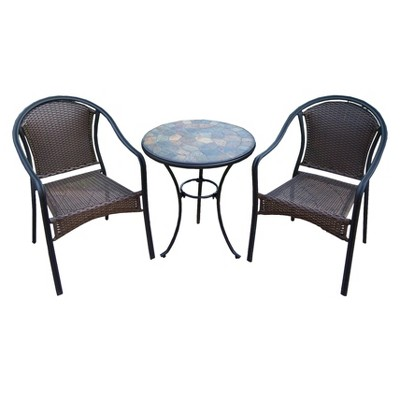 Stone 3-Piece Wicker Patio Bistro Furniture Set : Target