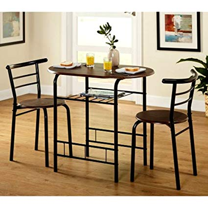 Amazon.com: Tall Round Bistro Table Set, 3-Piece Black Espresso