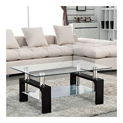 Amazon.com: Modern Rectangular Black Glass Coffee Table Chrome Shelf