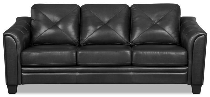 Andi Leather-Look Fabric Sofa u2013 Black | The Brick
