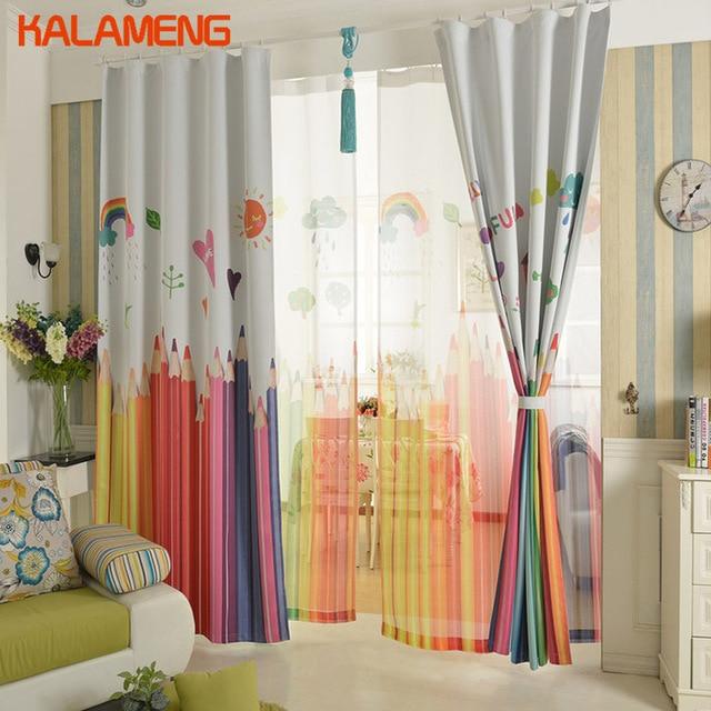 Korean Children Girls Drapes Colors Kids Curtain Bedroom Cartoon