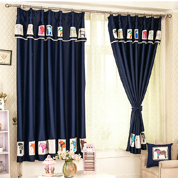 Lovely Horse Patterned Dark Blue Blackout Kids Curtains