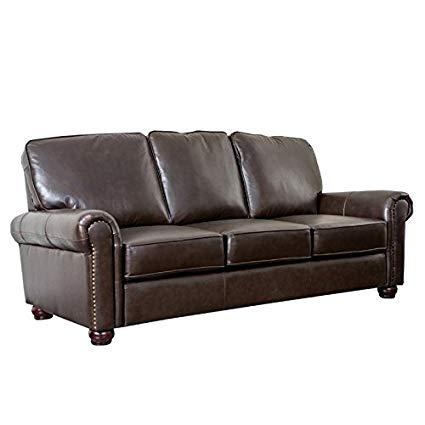 Amazon.com: Abbyson Living Bellagio Leather Sofa in Brown: Kitchen