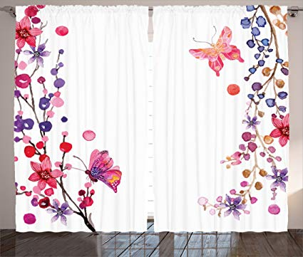 Amazon.com: Ambesonne Bedroom Curtains Butterflies Decorations