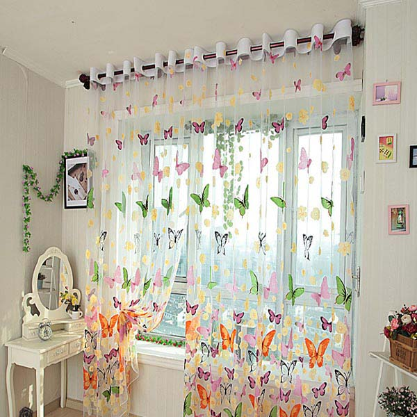 Butterfly Print Sheer Window Curtains Home Decoration | Alexnld.com