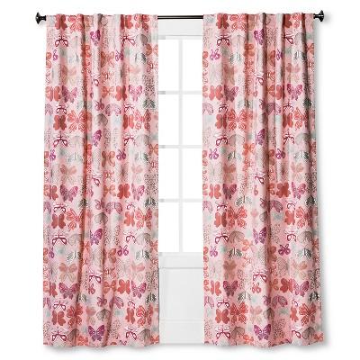 Twill Light Blocking Butterfly Print Curtain Panel Pink - Pillowfort