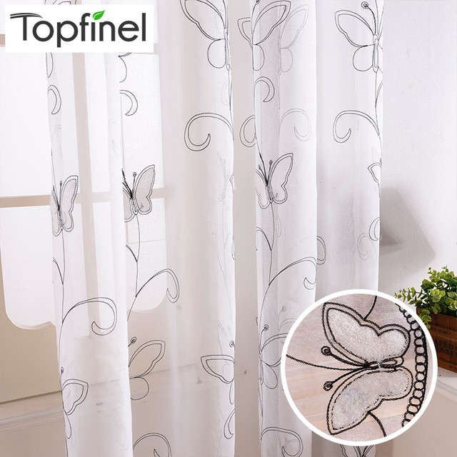 Topfinel Cotton Linen White Ready Made Cheap Embroidered Sheer