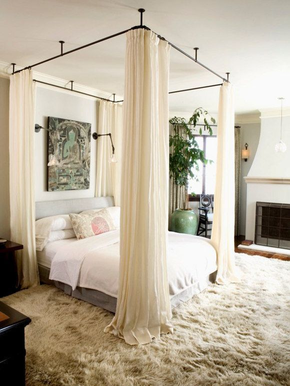 DIY canopy bed! Love it. For the downstairs bedroom, to give more