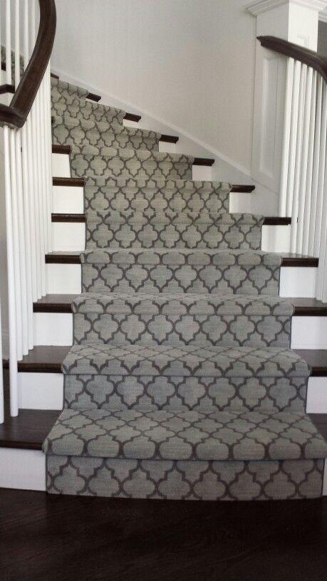Geometric Modern Stair Runner Gray Colour runner on stairs in