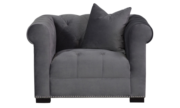 Aria Miranda Gray Velvet Chesterfield Chair|The Dump Luxe Furniture