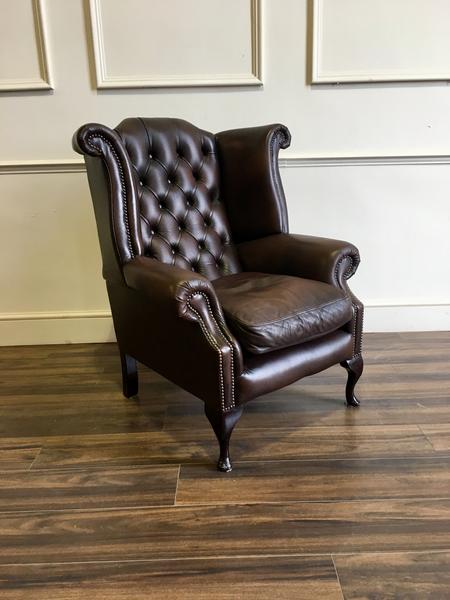 Chesterfield Wing Back Chair In Chocolate u2013 Robinson of England
