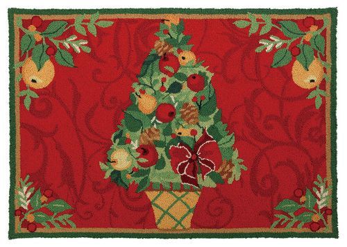 Christmas Rugs - Della Robia Topiary Sally Eckman Roberts