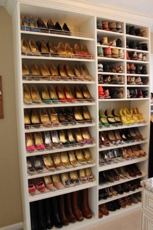 Different shelf heights for different kinds of shoes | Closet