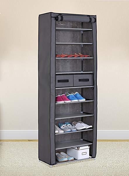 Amazon.com: Grey 10 Tiers Shoe Rack with Dustproof Cover Closet Shoe
