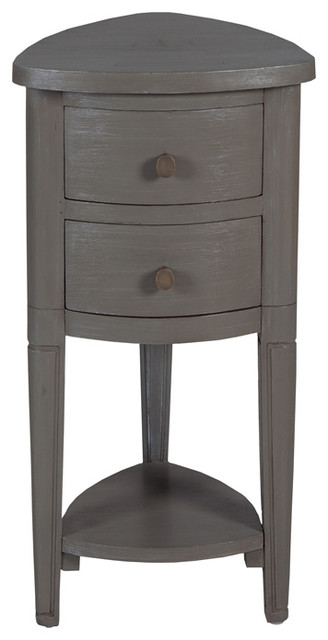 Gray Corner Accent Table With Drawer, 30