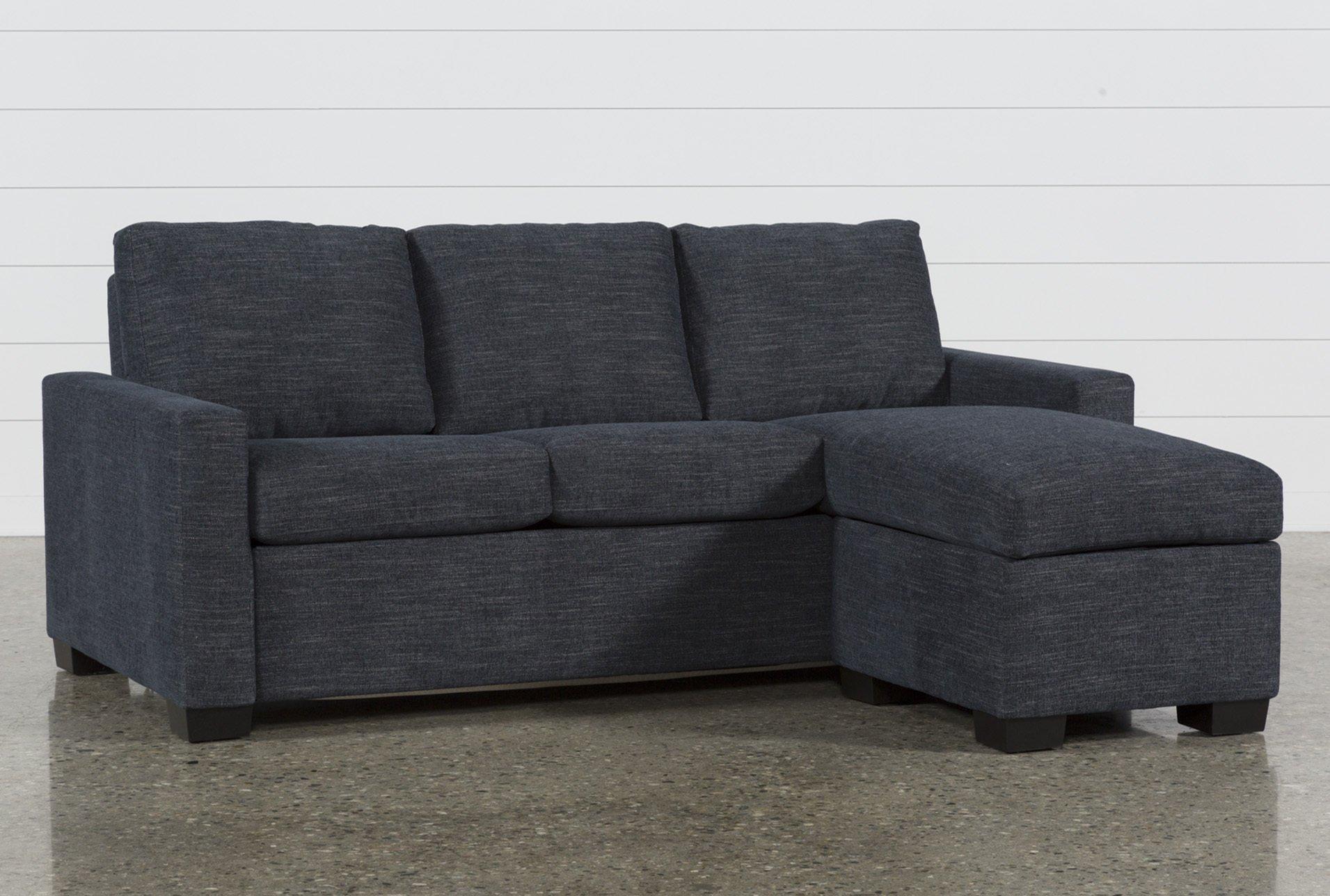 Mackenzie Denim Queen Plus Sofa Sleeper W/ Storage Chaise | Living