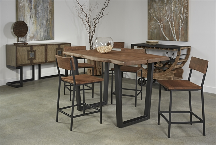 Coast to Coast|Acacia Live Edge Counter Height Dining Table|Metal Base
