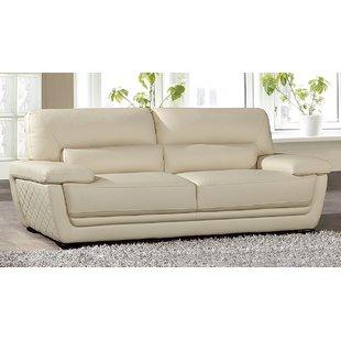 Cream Faux Leather Sofa | Wayfair