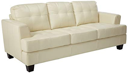 Amazon.com: Samuel Leather Sofa Cream: Kitchen & Dining
