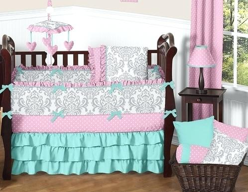 Pink Gray And Turquoise Baby Bedding Girls Crib Set By Sweet Sets