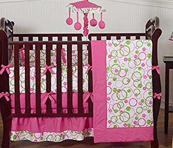 Amazon.com : Modern Pink and Lime Green Circles Baby Girl Bedding