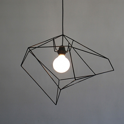 Designer Lighting Asymmetric Iron Cage One-light Pendant