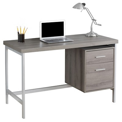 Computer Desk With Drawers - Silver Metal&Dark Taupe - EveryRoom