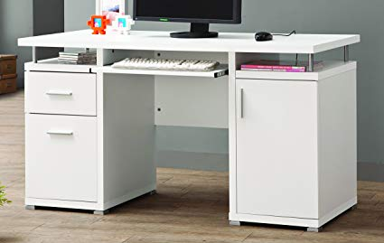 Amazon.com: Computer Desk with 2 Drawers and Cabinet White: Kitchen