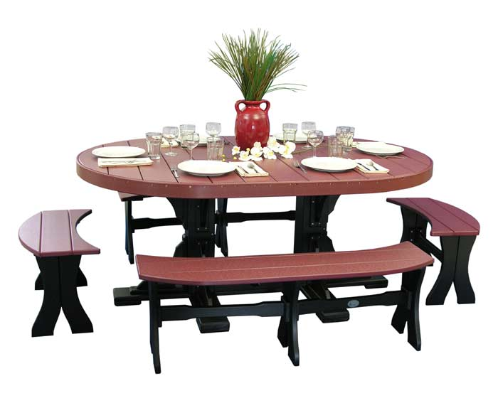 4x6 Oval Dinner Table with Benches | Patio Table Sets Sales & Prices