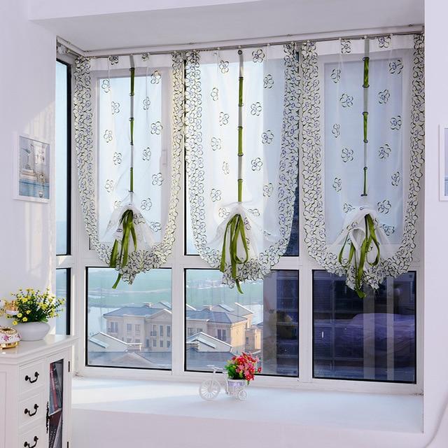 2018 roman curtains top Sheer kitchen door window curtains 1pc