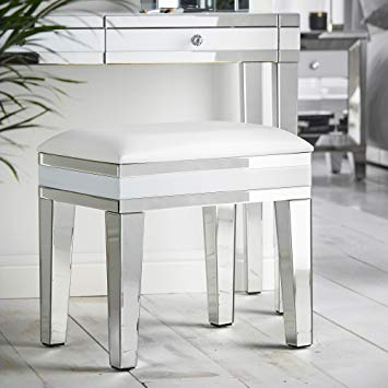 Beautify Mirrored Dressing Table Stool Chair - White with Luxe Faux