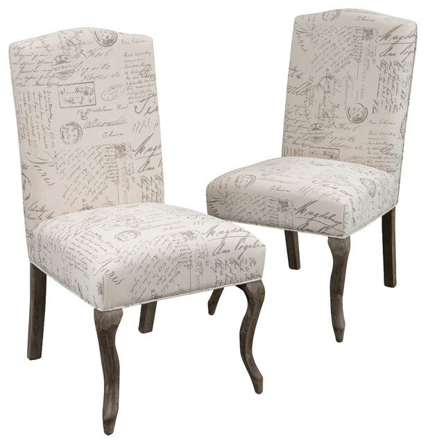 Crown Back French Script Beige Fabric Dining Chairs, Set of 2