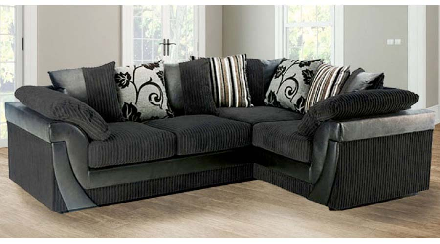 Sirocco Mixed Fabric Corner Sofa Black - High Quality Cheap Sofas at