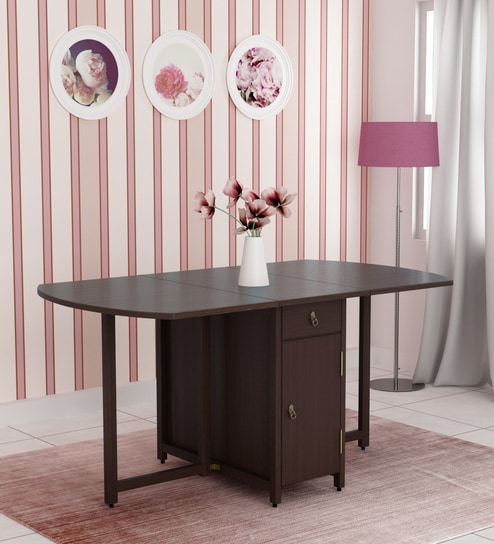 Buy Foldable Dining Table in Ebony Finish by Ekbote Furniture Online