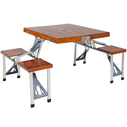 Amazon.com: Best Choice Products Wooden 4 Seat Folding Picnic Table