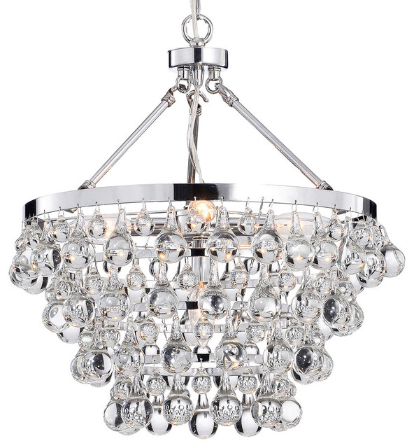 Crystal Glass 5-Light Luxury Chandelier, Chrome - Contemporary