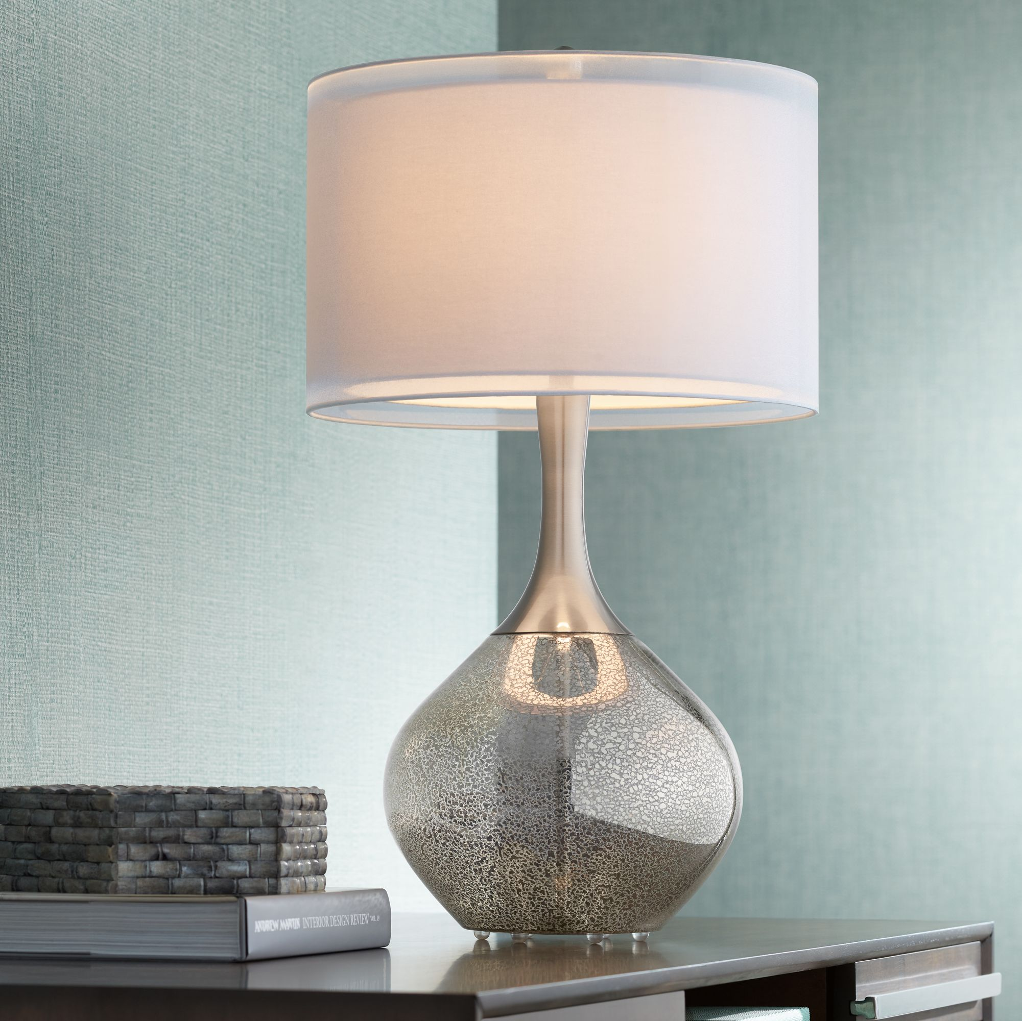 Possini Euro Design Swift Modern Mercury Glass Table Lamp - #7C391