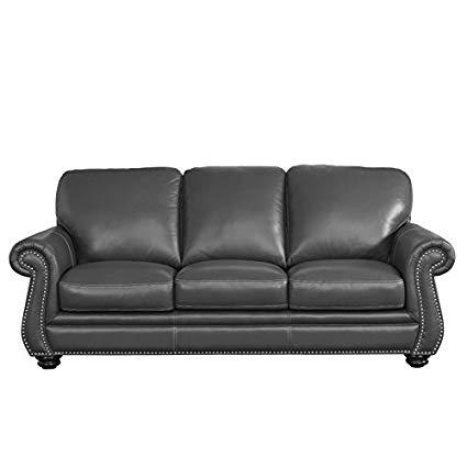 Amazon.com: Abbyson Living Austin Leather Sofa in Gray: Kitchen & Dining